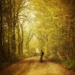 Man walking  on a lonely country road - Stock Photo