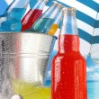 Close-up view of bottles with ice - Stock Photo
