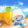 Closeup of children's beach toys — ストック写真