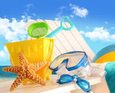 Closeup of children's beach toys — Stok fotoğraf
