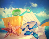 Closeup of children's beach toys — Foto Stock