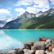 Lake Louise located in the Banff National Park - Stock Photo