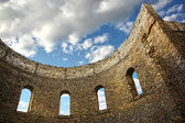 Ruin wall with windows of an old church — Stock Photo