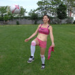 Practicing soccer girl. — Stock Photo