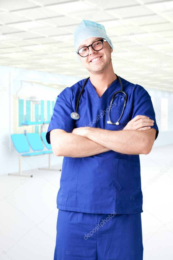 Modern hospital young man  doctor — Stock Photo #5449105