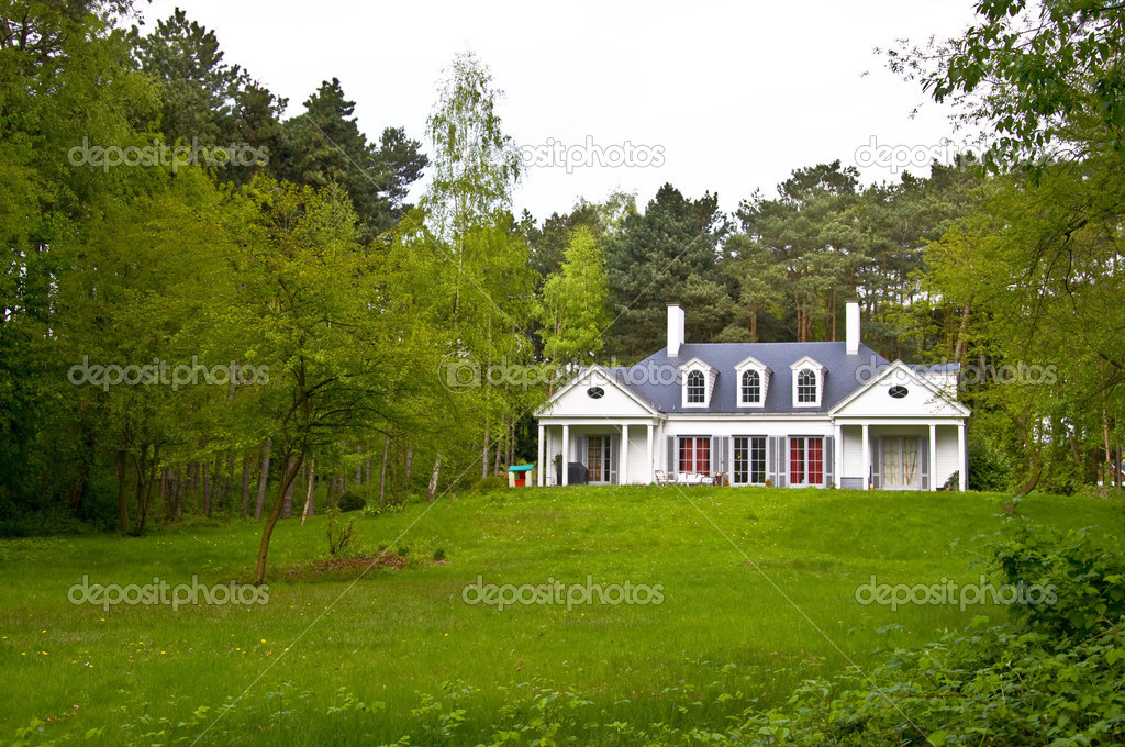 Alone house, lost in the forest. It stands on a hill in front of a green lawn. Spring landscape. — Stock Photo #6051334