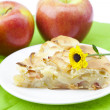 Stock Photo: Apple pie with flower and apple
