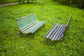 Two benches on the background of green grass — Stock Photo