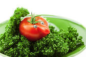 Tomato with a nose on a green plate isolated on white — Stock Photo