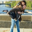 Young couple on the Charles Bridge — Stock Photo #5996284
