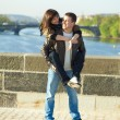 Young couple on the Charles Bridge — Stock Photo