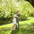 Just married standing under the greenwood tree — Stock Photo #5999070