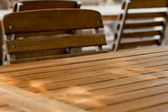 Wooden table and chair — Stock Photo