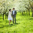 Just married in a flowering garden — Stock Photo #6000050