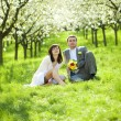 Just married in a flowering garden — Stock Photo #6000091