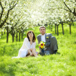 Just married in a flowering garden — Stock Photo #6000111
