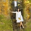 Stock Photo: Just married standing by the stone