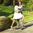 Just married standing on the road — Stock Photo #6005430