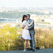 Just married against the background of Prague — Stock Photo #6006408