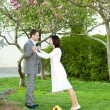Just married in a beautiful garden — Stock Photo #6006513