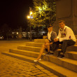 Young couple on the streets of Prague nightlife — Stock Photo
