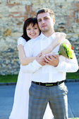 Just married standing — Stock Photo