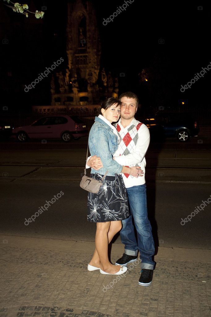 Young couple on the streets of Prague nightlife  Stock Photo #6006570