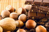 Chocolate and nuts on a bamboo mat — Stock Photo