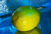 Lemon under running water — Stock Photo