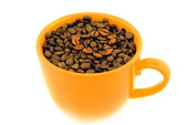 Cup with coffee beans isolated on white — Stock Photo