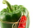 Paprika och chilipeppar isolerad på vit — Stockfoto