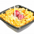 Background of  bowl of cornflakes milk  cherry  and strawberry — Foto Stock