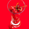 Glass of cherry on a red background — Stock Photo #6058297
