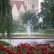 Rain, fountain, park - Stock Photo