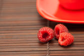 Raspberry cup and saucer on a bamboo mat — Stock Photo