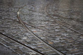 Cobbles and Tramways background — Stock Photo