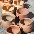 Clay pots on pavement — Foto de Stock