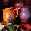 Ceramic pitchers on the market — Stock Photo