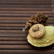 Stock Photo: Almonds and walnuts on a bamboo mat