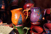 Ceramic pitchers on the market — Стоковое фото