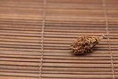 Dried walnut on a bamboo mat — Stock Photo