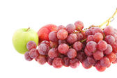 Apples and grapes isolated on white — Stock Photo