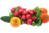 Radish, cucumber and tomato isolated on white — Stock Photo