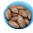 Stock Photo: Pecans in bowl isolated on white