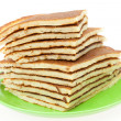 Stock Photo: Pancakes on plate isolated on white