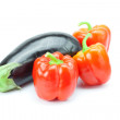 Red pepper and eggplant isolated on white — Stock Photo #6092806
