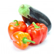 Red pepper and eggplant isolated on white — Stock Photo #6092809