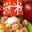Dish, cookies, nuts, apple, bows, boxes, gifts, Christmas balls — Foto de Stock
