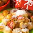 Dish, cookies, nuts, apple, bows, boxes, gifts, Christmas balls — Stock Photo