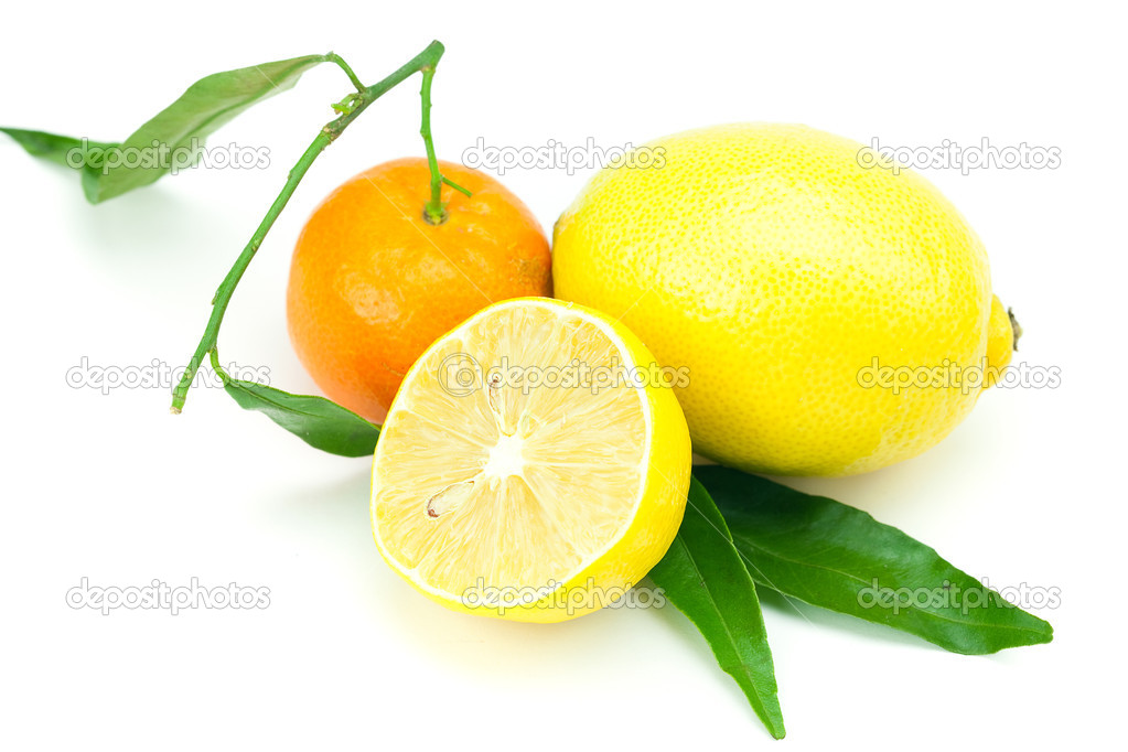 Lemon and mandarin with green leaves isolated on white — Stock Photo #6103019